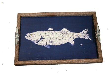white fish on navy - tray