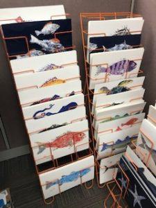 Rack of artwork